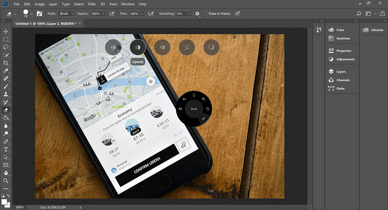 how to use surface dial with photoshop