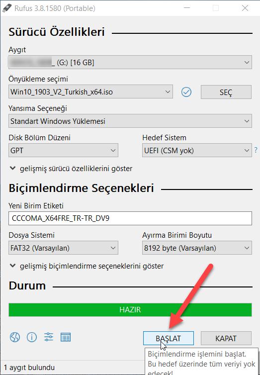 Windows 10 boot kurulum usb'si hazırlama usb ile format atma
